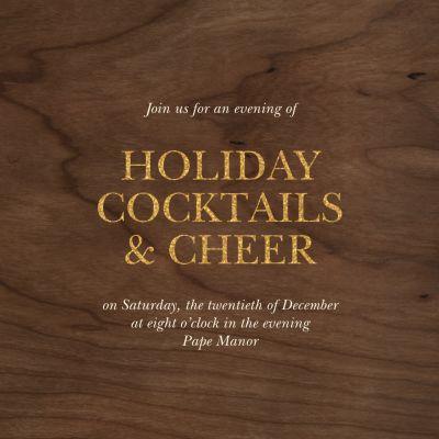 Wood Grain Dark - Paperless Post - Holiday invitations