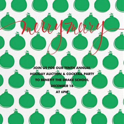 Merry Merry with Ornaments - Linda and Harriett - Holiday invitations