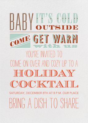 Come Get Warm - Crate & Barrel - Holiday invitations