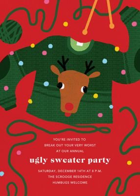 Red-Nosed Knitter - Paperless Post - Holiday invitations