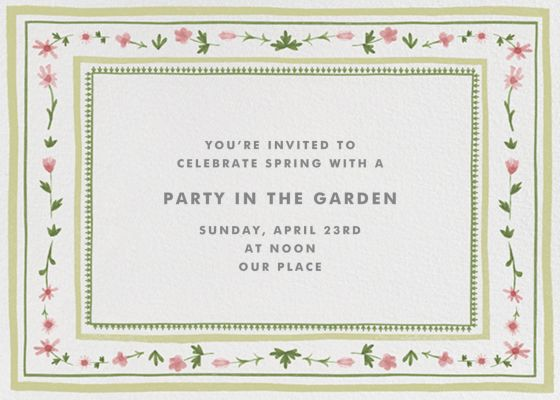 Floral Border - Paperless Post - Spring Party Invitations