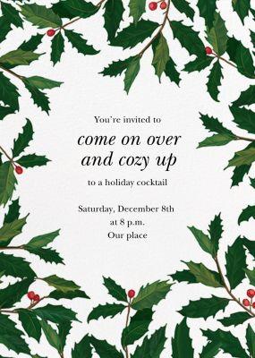 English Holly (Border) - Paperless Post - Holiday invitations
