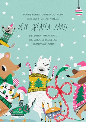 Sweater Party Animals - Hello!Lucky - Holiday invitations