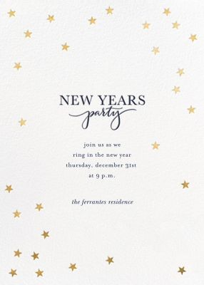Starry Holidays - Sugar Paper - New Year's Eve Invitations