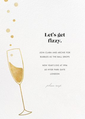 Champagne Bubbles (New) - Paperless Post - New Year's Eve Invitations