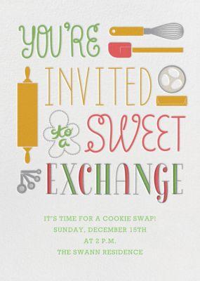Sweet Exchange - Crate & Barrel - Cookie swap invitations