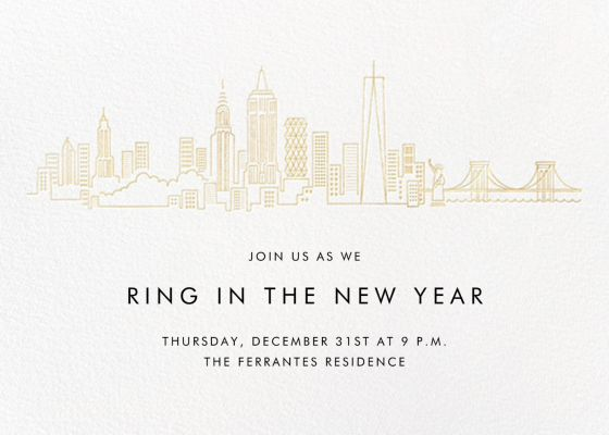 City Skyline View - Paperless Post - New Year's Eve Invitations