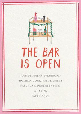 Holly Jolly Bar Cart - Mr. Boddington's Studio - Holiday invitations