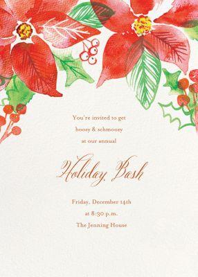 Watercolor Pointsettia - Paper Source - Holiday invitations