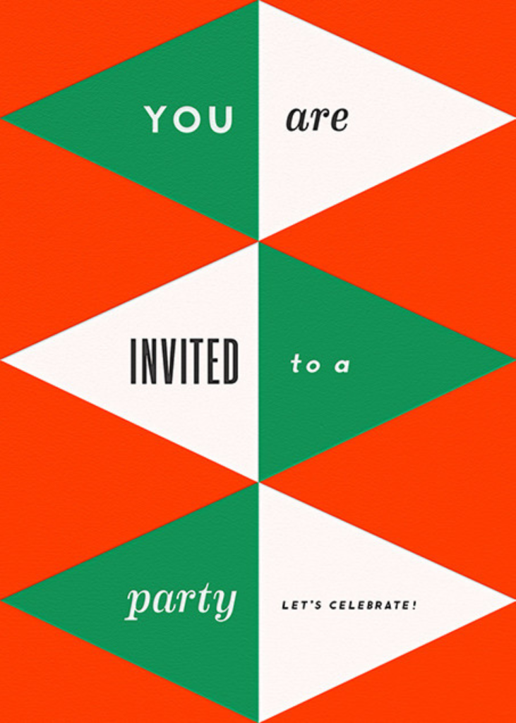 Deco Invite - Red And Green - The Indigo Bunting