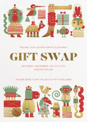 Gift Swap - Paperless Post - Holiday invitations