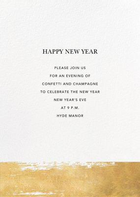 Simple Brushstroke - Sugar Paper - New Year's Eve Invitations