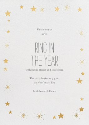Stars Over Tiny Town - Little Cube - New Year's Eve Invitations