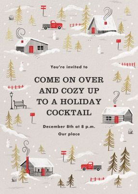 Frosted Village - Paperless Post - Holiday invitations