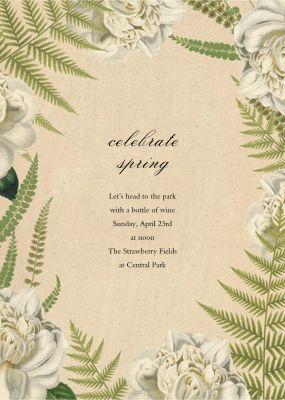 Fern Bouquet (Invitation) - John Derian - Spring Party Invitations
