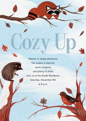 Cozy Critters - Paperless Post - Winter Party Invitations