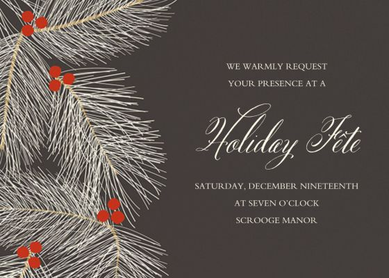 Slate Pine Branches - Paper Source - Holiday invitations