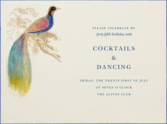 Hand Painted Bird of Paradise - Bernard Maisner - Spring Party Invitations