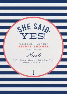 Nautical Stripe Bridal Shower - Crate & Barrel