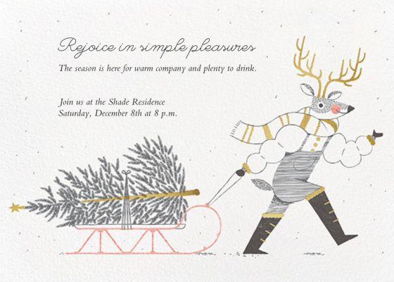 Reindeer Sleigh - Paperless Post - Holiday invitations