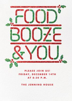 Food Booze and You - Paperless Post - Holiday invitations
