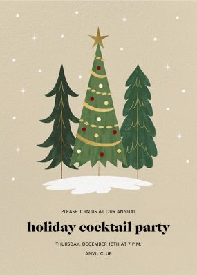 Christmas Tree Trio - Paperless Post - Holiday invitations