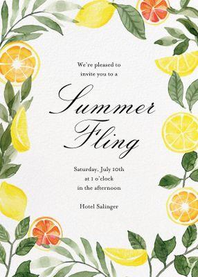 Lemon Leaves - Paper Source - Summer Party Invitations