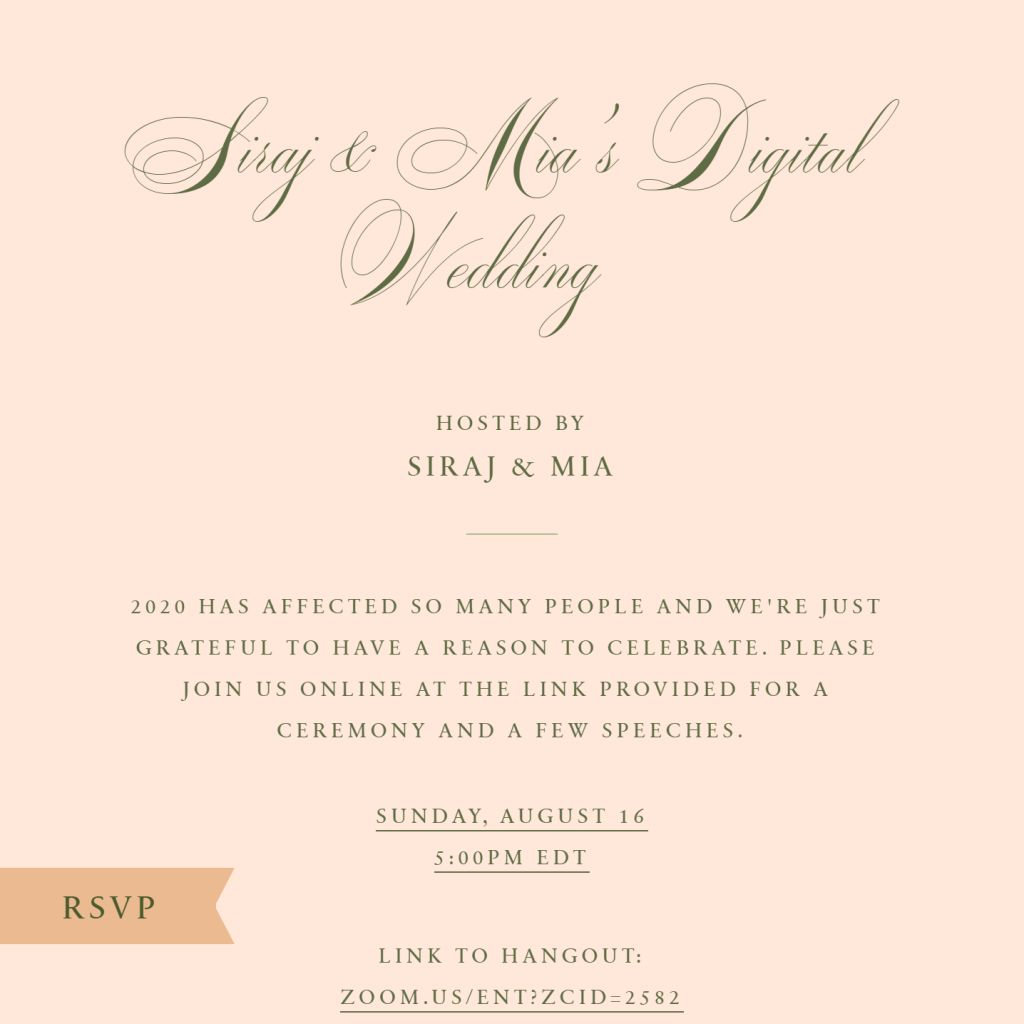 Virtual Wedding Celebration