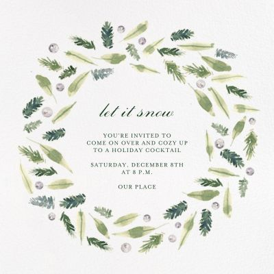 Beacon Hill Wreath - Paperless Post - Holiday invitations