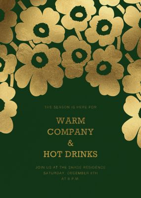 Gold Unikko - Marimekko - Winter Party Invitations