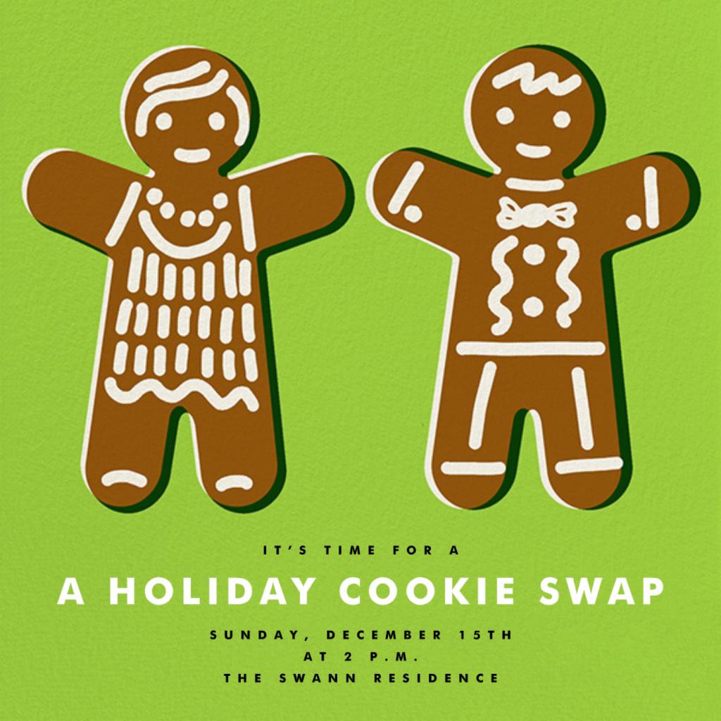 Gingerbread Invite - Leaf Green - The Indigo Bunting