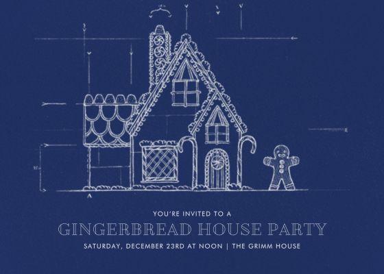 Gingerbread Blueprint - Dark Blue - Paperless Post - Cookie swap invitations